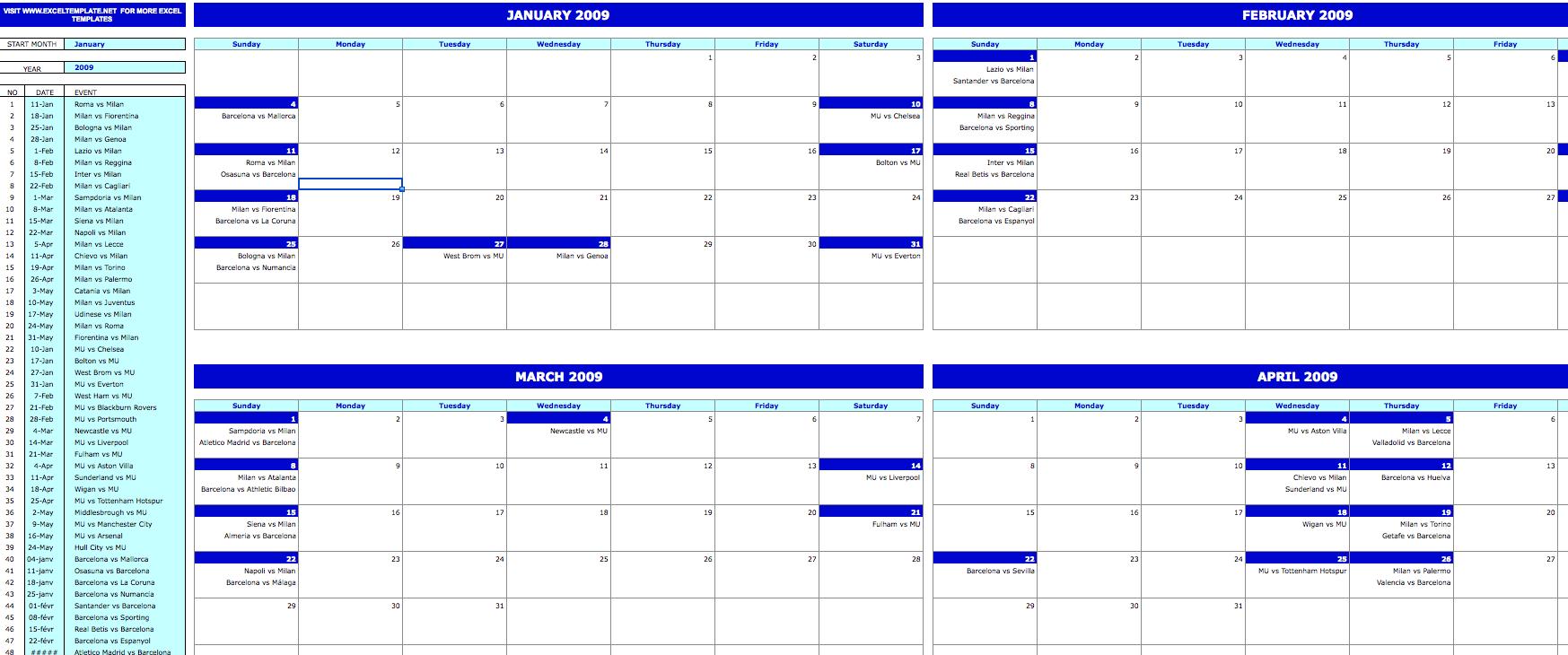 monthly event calendar  u00bb exceltemplate net