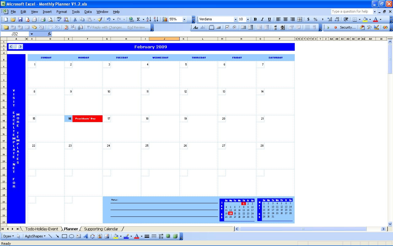monthly planner excel templates