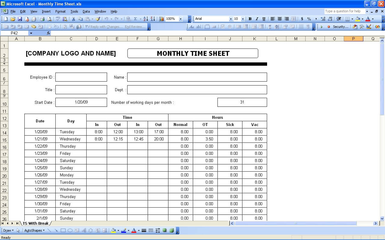 Time Sheets – Sample Daily Timesheet