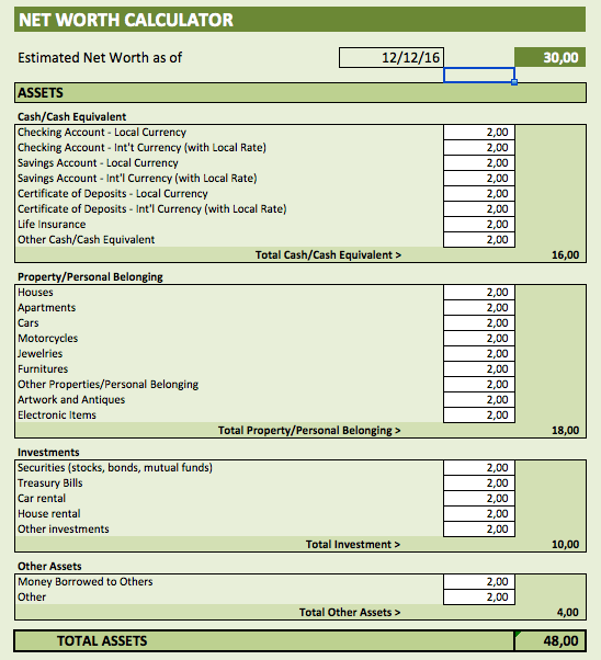 Net Worth Calculator assets