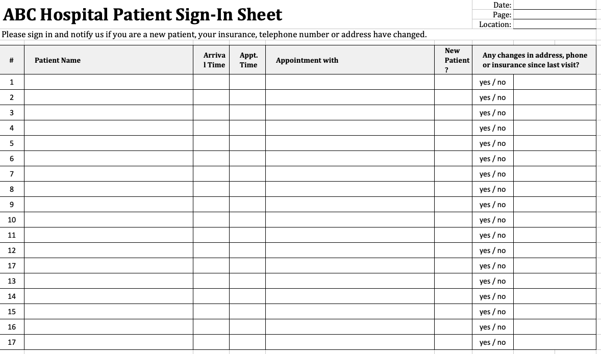 Patient Sign-In Sheet
