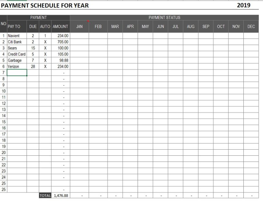 Payment Schedule Print
