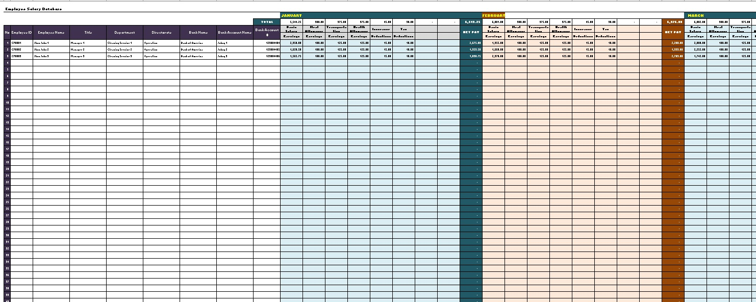 Paystub Excel Template Database Overview