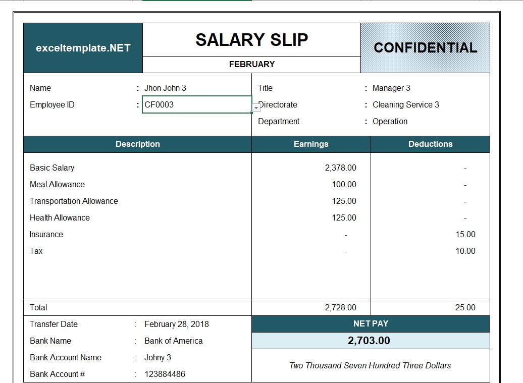 Paystub Excel Template Employee ID
