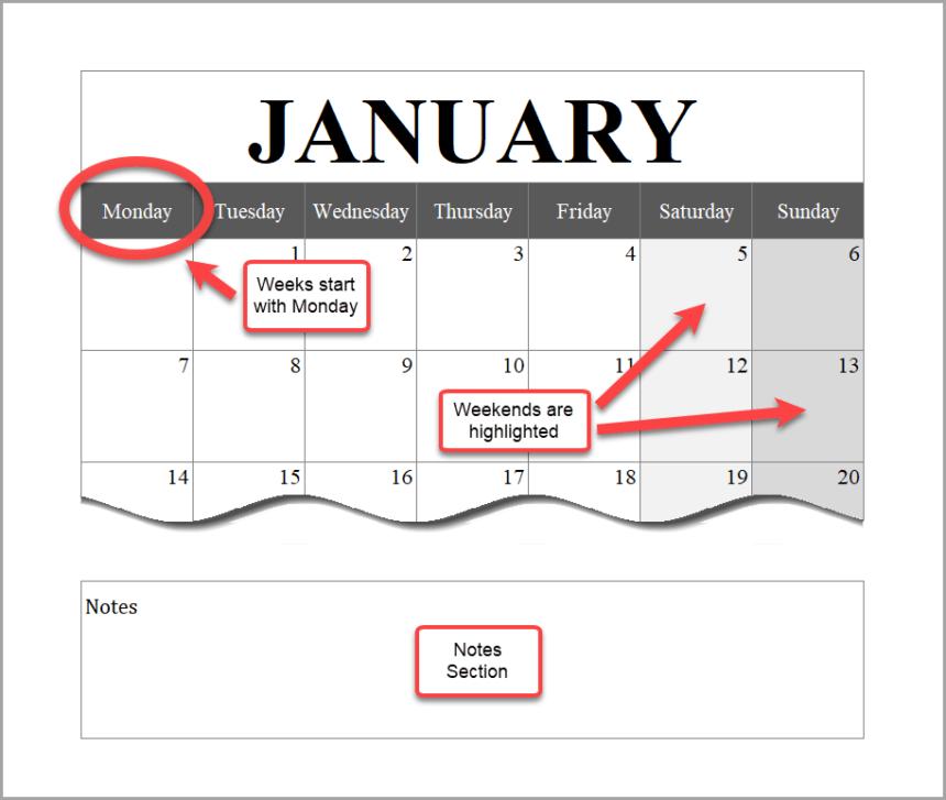Portrait Calendar Layout