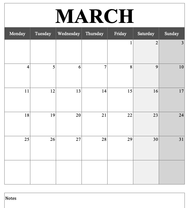 Portrait Calendar March