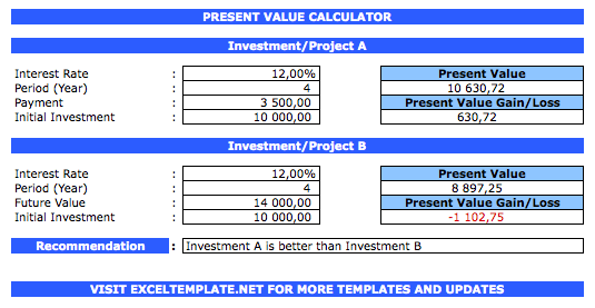 Present Value Calculator comparator