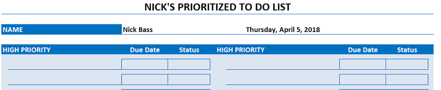 Prioritized To Do List add information