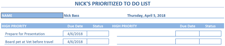 Prioritized To Do List icy blue theme