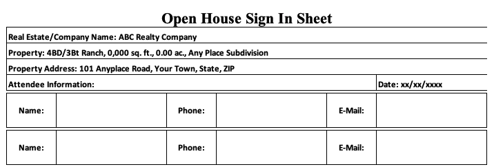 Real Estate Sign In Sheet Open House Portrait