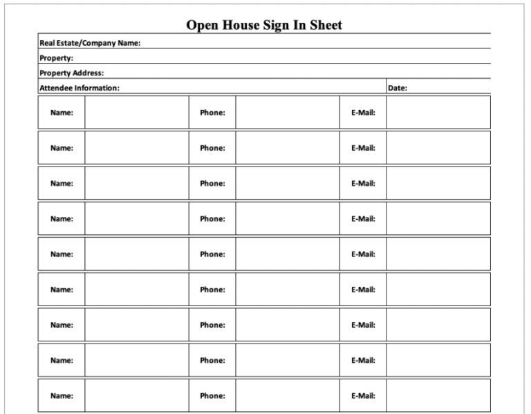 Real Estate Sign In Sheet Portrait