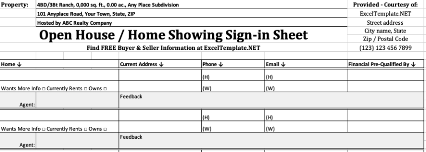 Real Estate Sign In Sheet Showing Agent