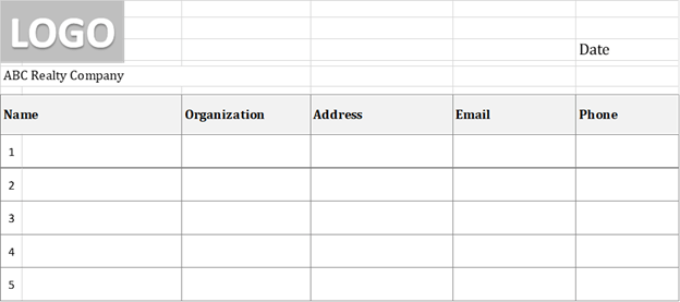 Real Estate Sign In Sheet Simple Format