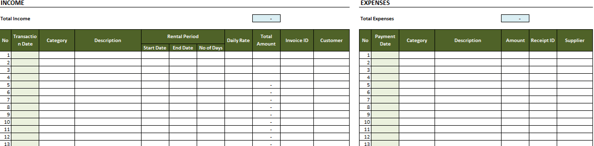 Rental Property Expense Worksheet Monthly Tabs