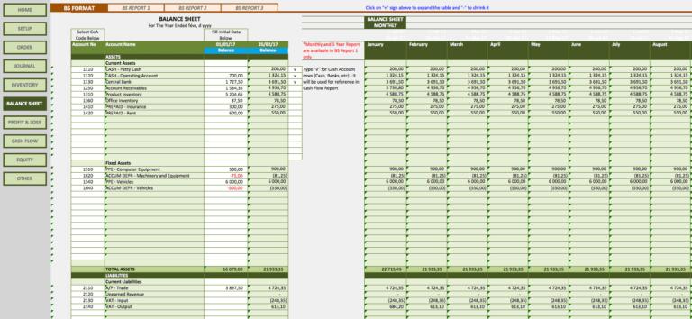 Retail Business Accounting Templates balance