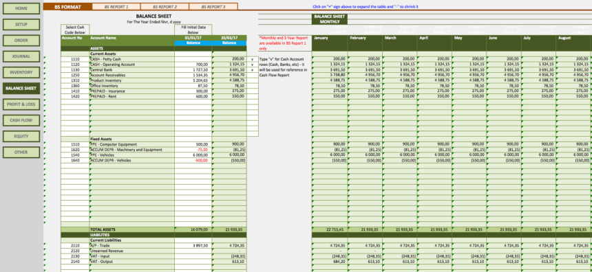 Retail Business Accounting Templates balance