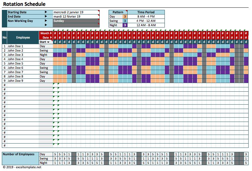 Rotating Schedule model2 calendar