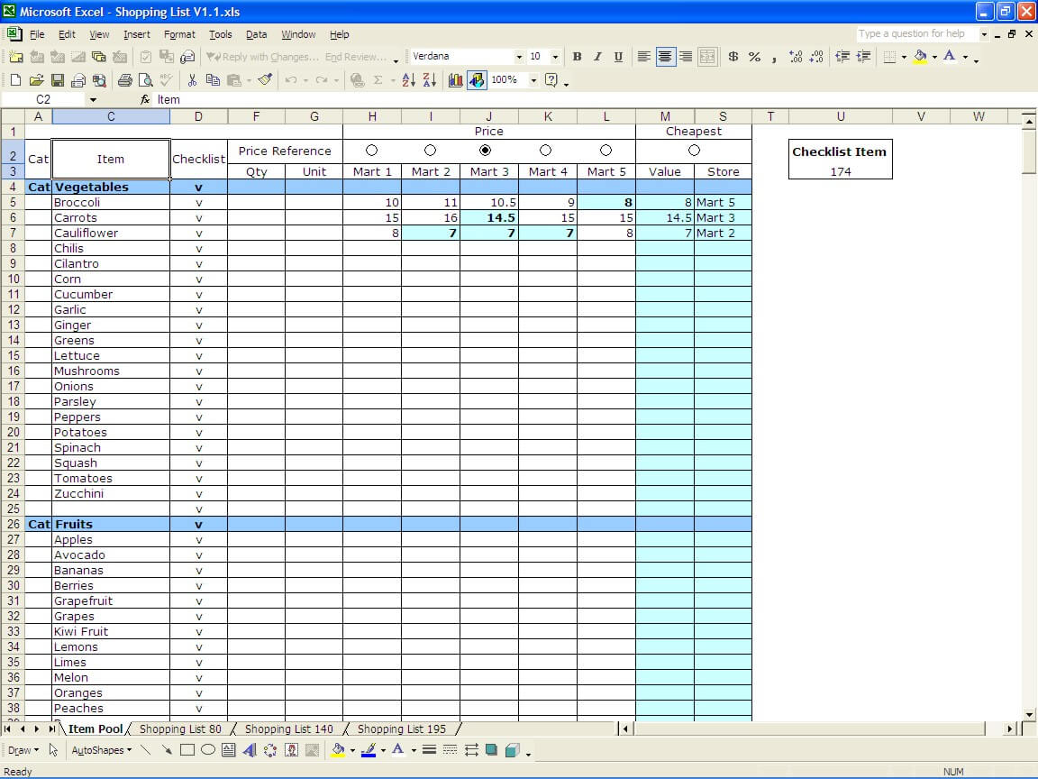 Shopping List | Excel Templates