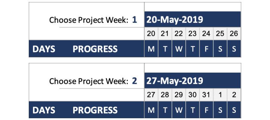 Simple Gantt Chart Project Week