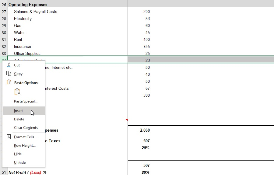 Simple Profit and Loss Self-Employed Statement Expenses