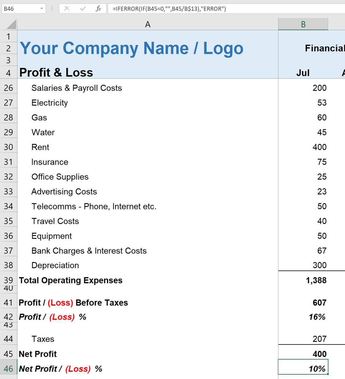 Simple Profit and Loss Self-Employed Statement Net Profit
