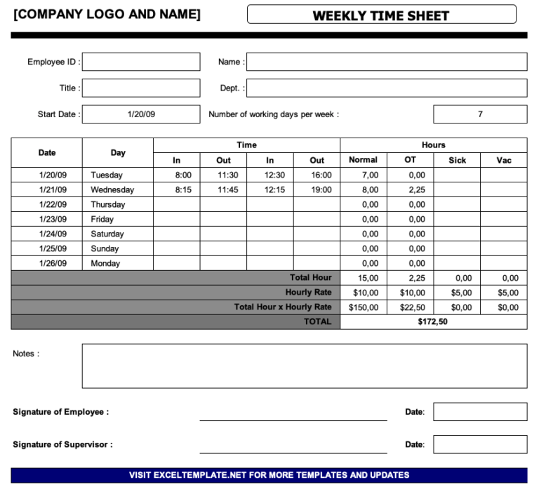 Simple Timesheet Overview