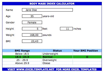 Simple BMI Calculator » ExcelTemplate net