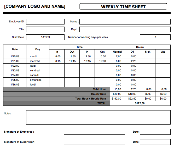 Simple Timesheets weekly
