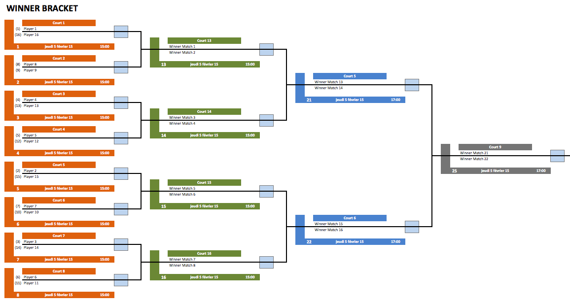 Single and Double Elimination Bracket Creator » ExcelTemplate net