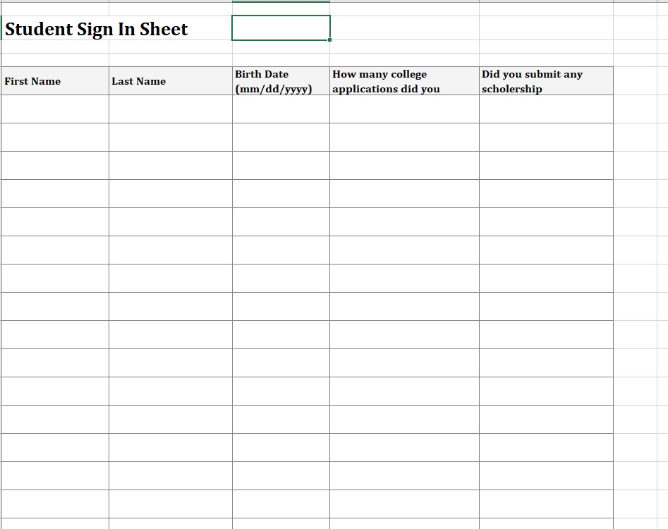 Student Sign-In Sheet Collect Information