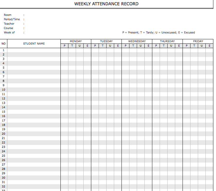 Student Attendance Sheet Weekly Monthly 187 Exceltemplate Net