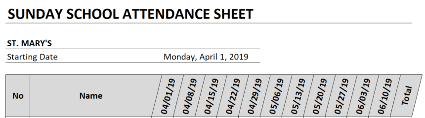 Sunday School Attendance Sheet Automated Dates