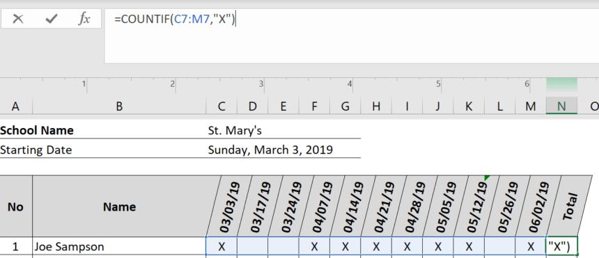 Sunday School Attendance Sheet Calculate Totals