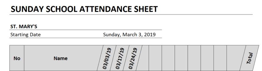 Sunday School Attendance Sheet Dates