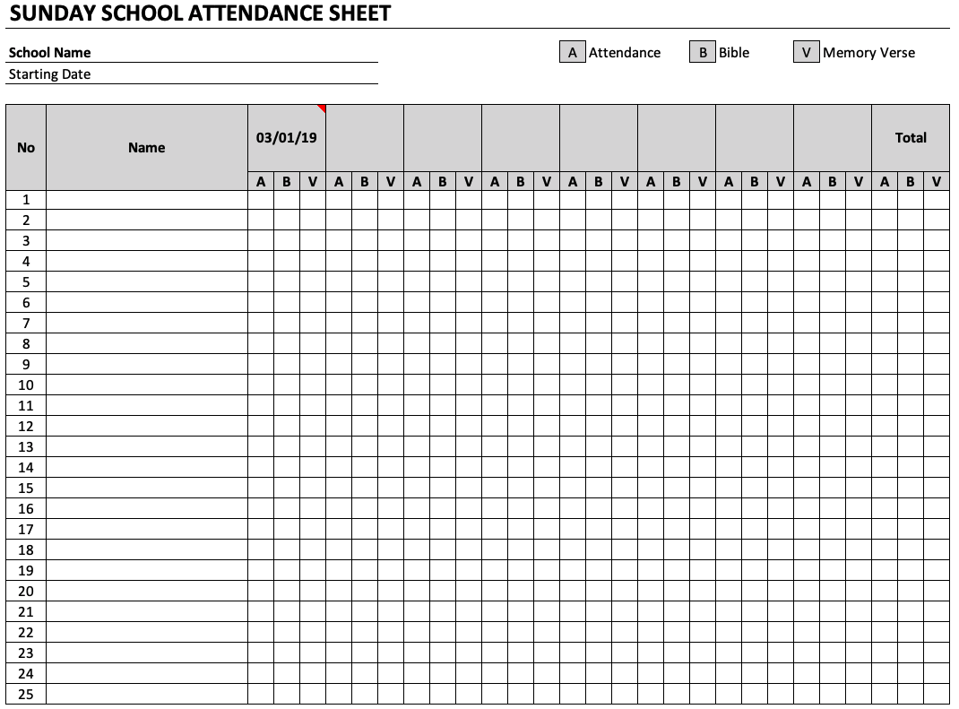 Sunday School Attendance Sheet Template | DocTemplates