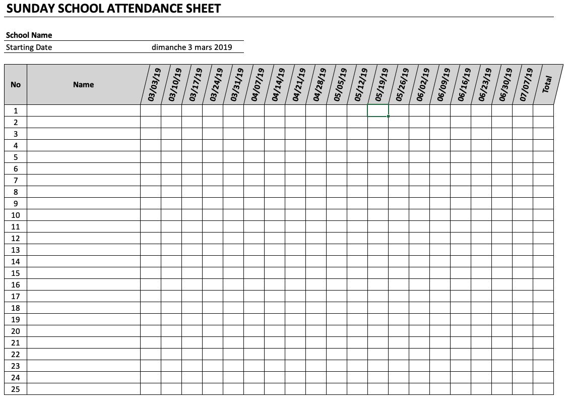 It's just a photo of Influential Sunday School Attendance Chart Free Printable