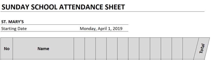 Sunday School Attendance Sheet Personalize