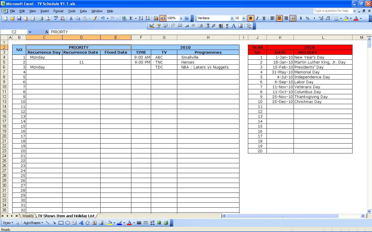tv schedule excel templates