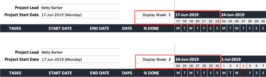 Team Gantt Chart Display Week