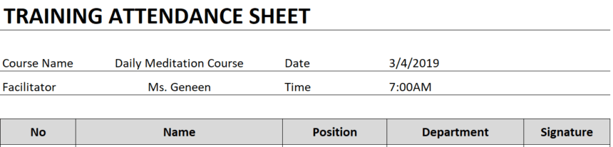 Training Attendance Sheet Personalize