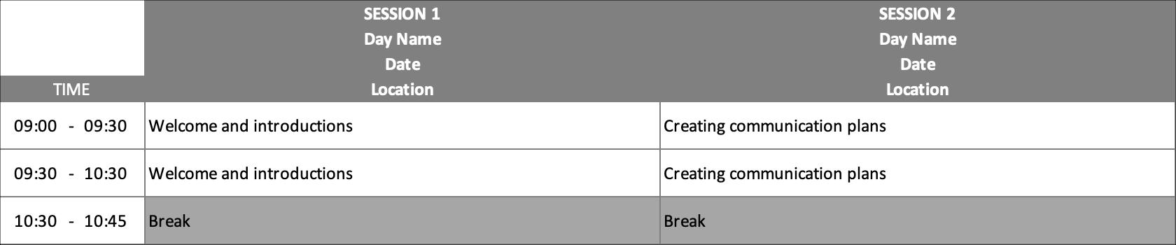 Training Schedule Add Activities