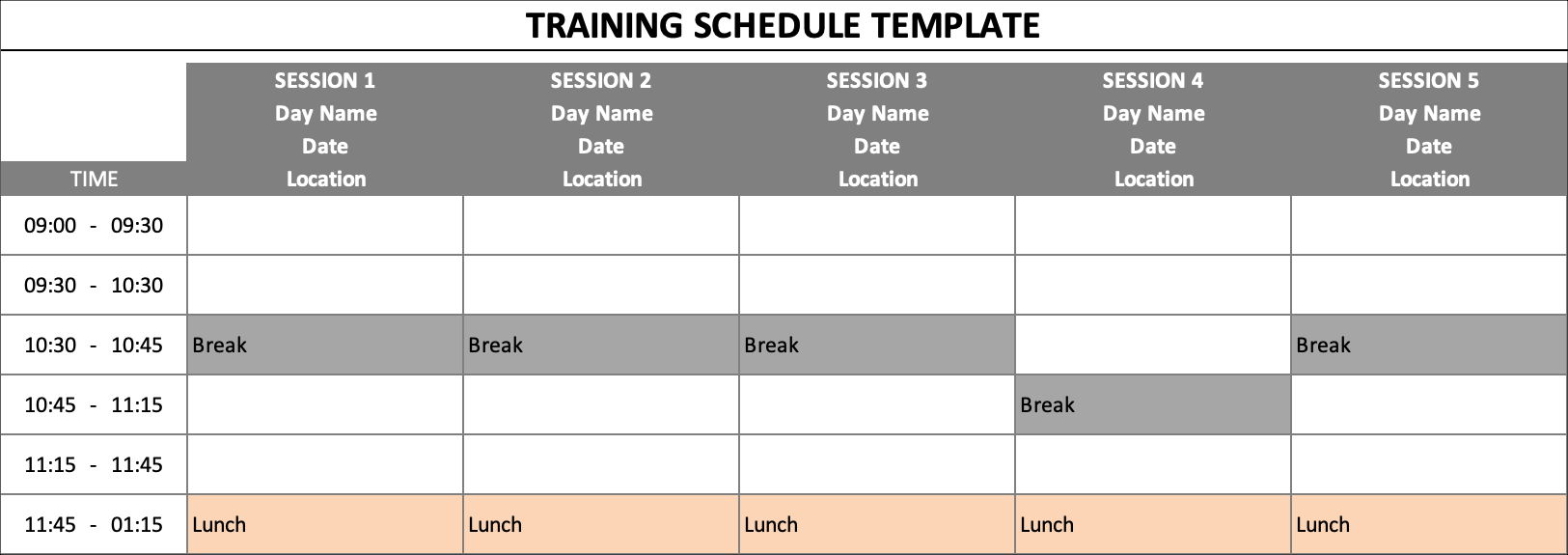 Training Schedule Breaks Lunches
