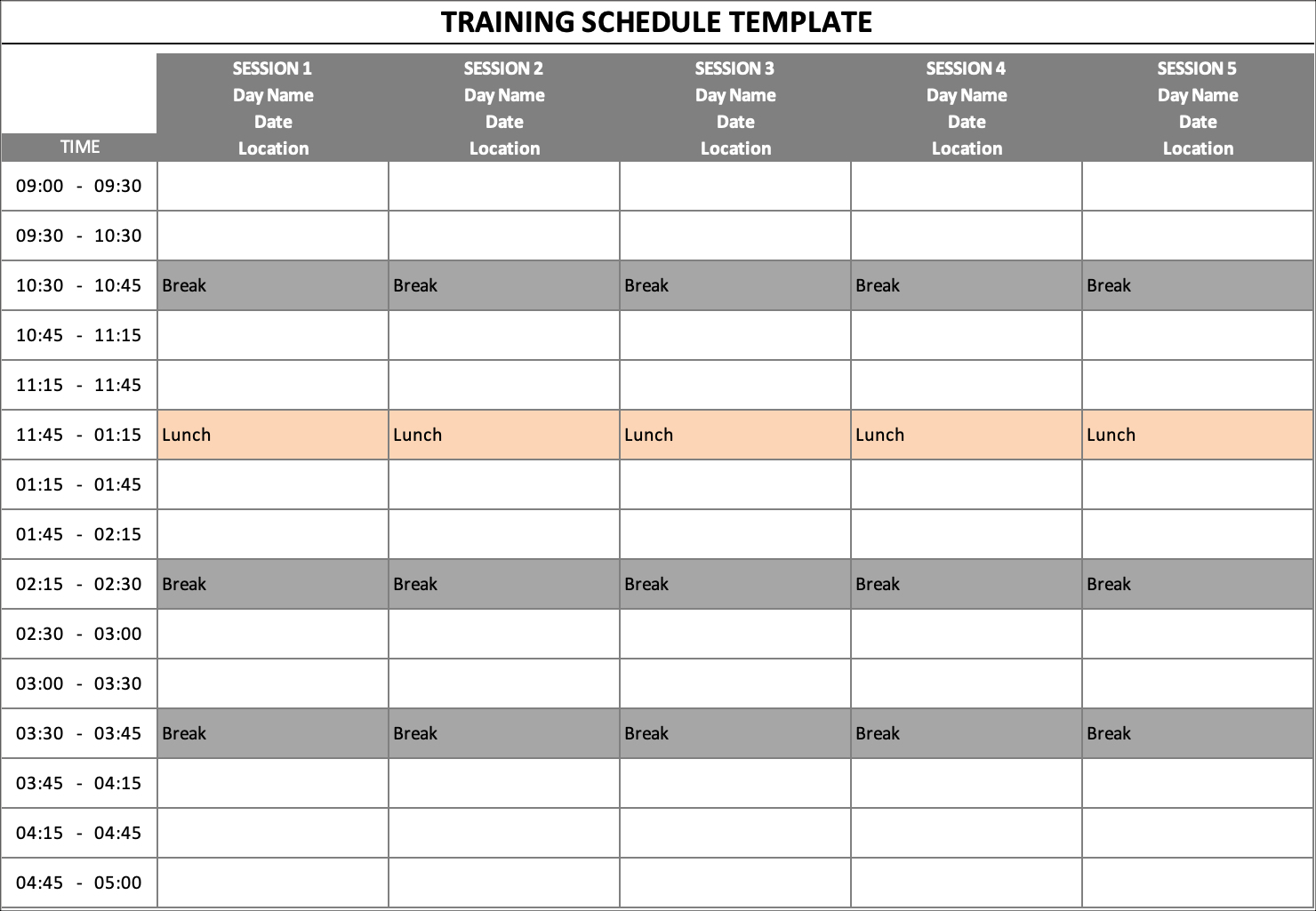 Training Schedule Long Sessions
