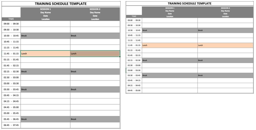 Training Schedule Portrait Landscape