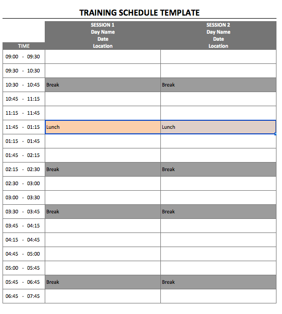 Training Schedule Template 2days portrait
