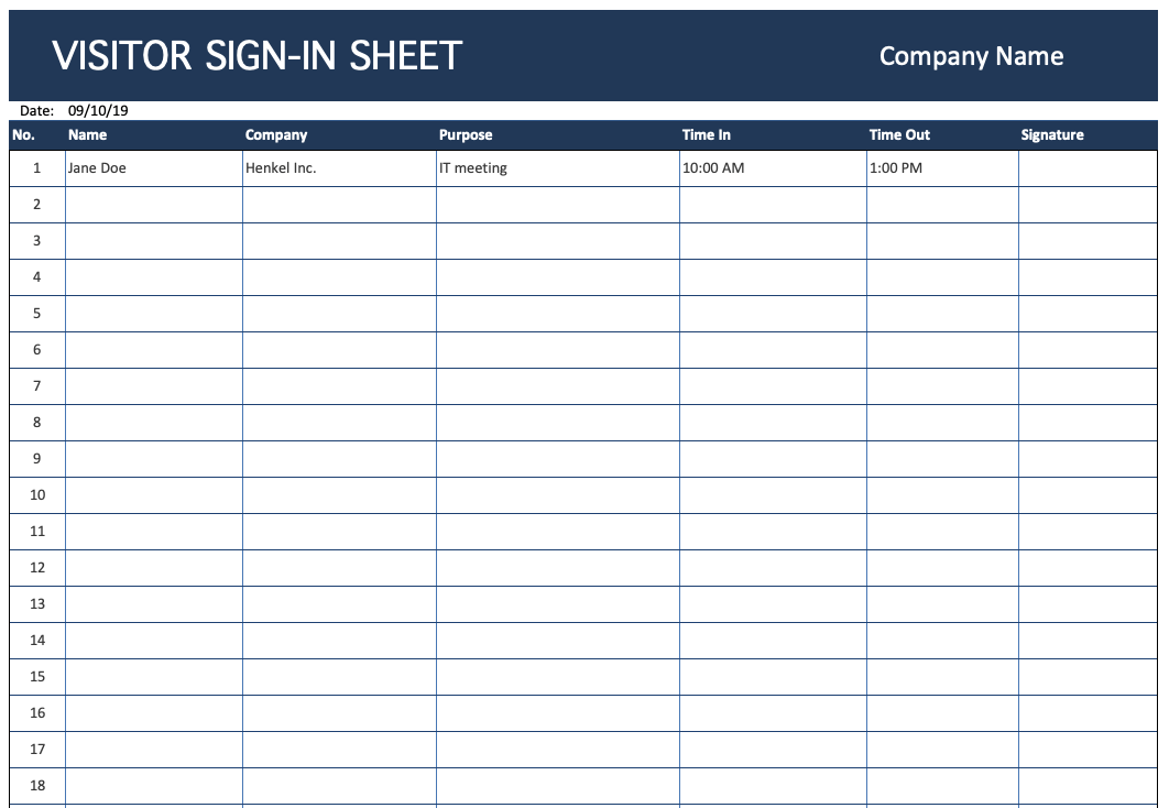 Visitor Sign-In Sheet