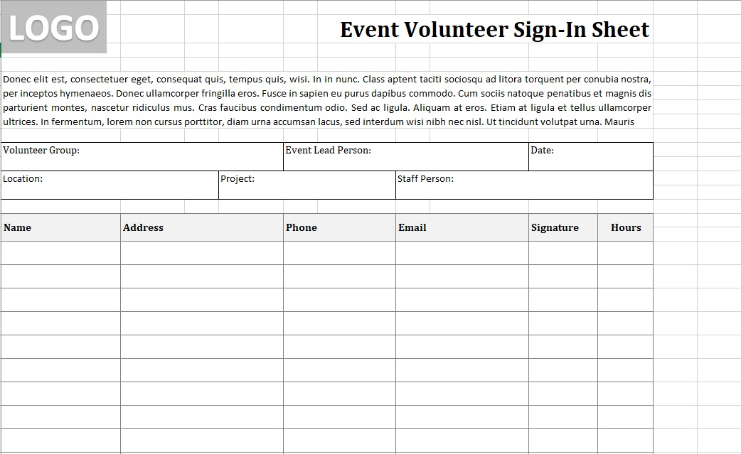 Volunteer Sign-In Sheet Event