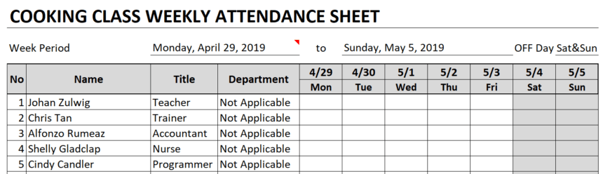 Weekly Attendance Sheet Attendee Information