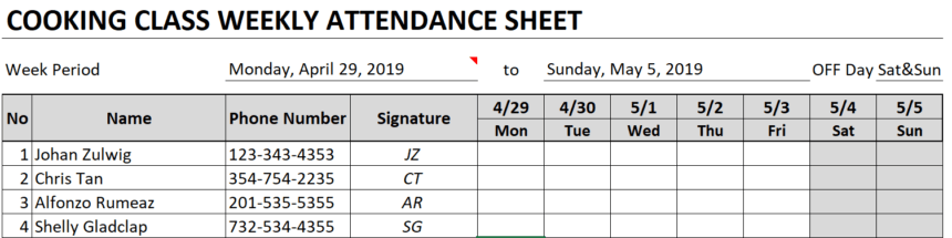 Weekly Attendance Sheet Customize Fields