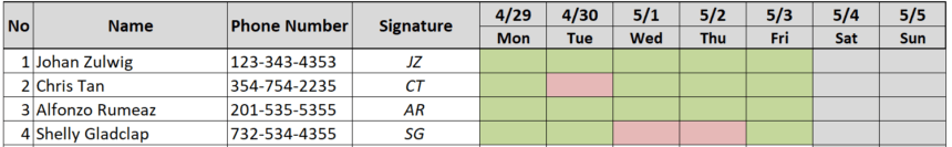 Weekly Attendance Sheet Track Colors